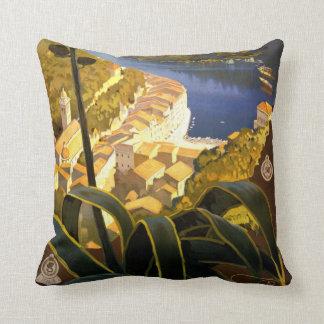 La Riviera Italienne Portofino Travel Poster 1920 Pillow