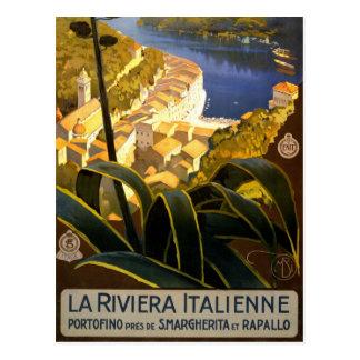 La Riviera Italienne Portofino Travel Poster 1920 Postcard