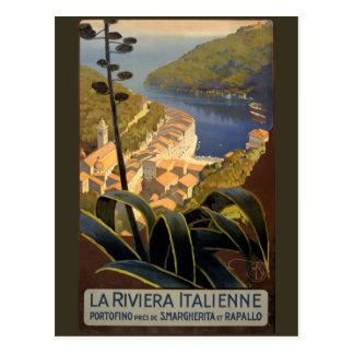 La Riviera Italienne Vintage Travel Poster Restore Postcard