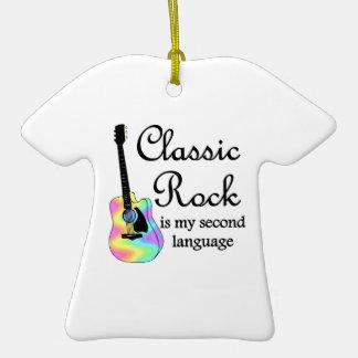 La roca clásica es mi segunda lengua ornamento para arbol de navidad