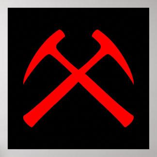 La roca cruzada rojo martilla el poster