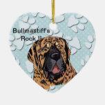 ¡La roca de Bullmastiff!! - Cara Brindle Ornamentos Para Reyes Magos