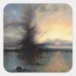 La roca de la salvación, 1837 (aceite en lona) pegatina cuadrada