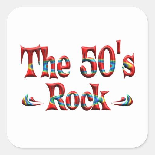 La roca de los años 50 pegatina cuadrada