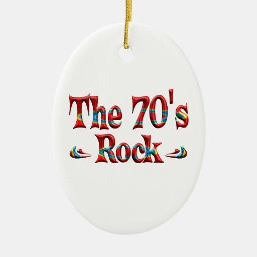 La roca de los años 70 adorno ovalado de cerámica