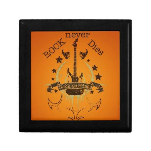 La roca nunca muere (negro) - por fan de música cajas de recuerdo