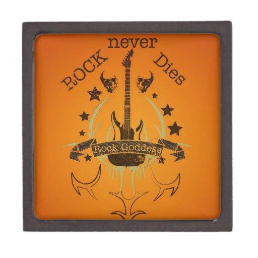 La roca nunca muere (negro) - por fan de música cajas de recuerdo de calidad