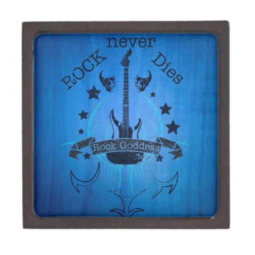 La roca nunca muere - por fan de música cajas de joyas de calidad