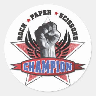 La roca, papel, Scissors al campeón Pegatina Redonda