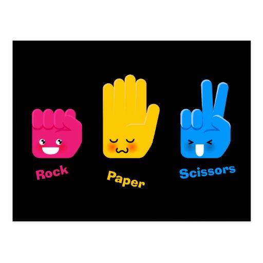 La roca, papel, Scissors la postal del juego
