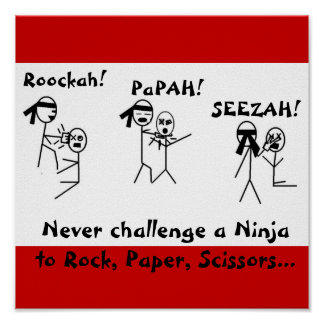 ¡La roca, papel, Scissors NINJA! Póster