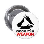 La roca, papel, tijeras, elige su arma pins