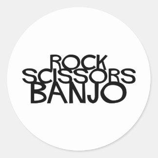 La roca Scissors el banjo Pegatina Redonda
