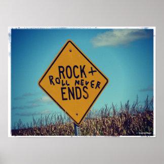La roca termina la señal de tráfico Graffitti, roc Póster