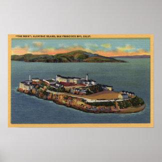 """""""La roca,"""" vista de la isla de Alcatraz Póster"""