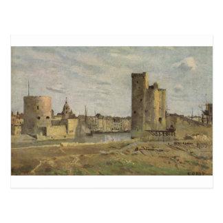 La Rochelle, entrada de puerto de Camilo Corot Postales