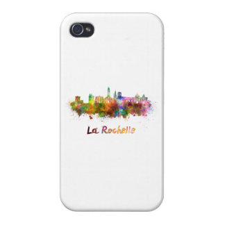 La Rochelle skyline in watercolor Cases For iPhone 4