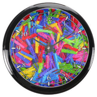 La ropa de lunes fija textura casera multicolora reloj aqua clock