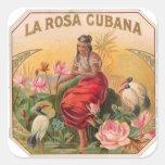 La Rosa Cubana Diseño Vintage Cuba Pegatina Cuadrada