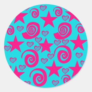 La rosa fuerte azul del trullo femenino etiquetas redondas