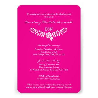 La rosa fuerte de la enfermera de la graduación/RN Invitación
