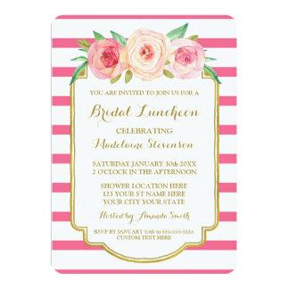 """La rosa fuerte raya el almuerzo nupcial floral invitación 5"""" x 7"""""""