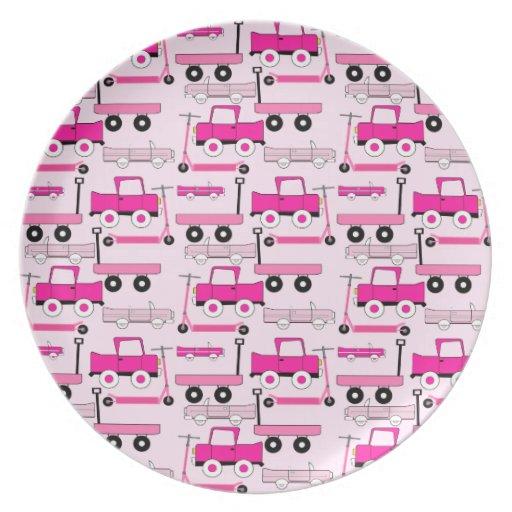La rosa fuerte rueda el carro de las vespas de los plato de comida