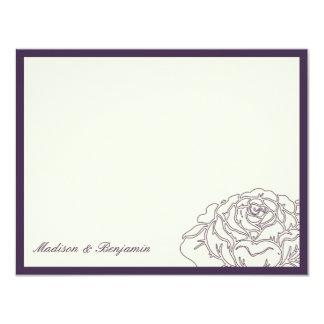 La rosaleda le agradece cardar - púrpura invitación 10,8 x 13,9 cm