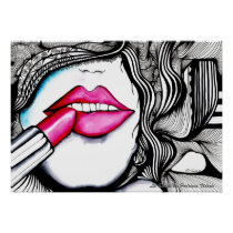 artsprojekt, rouge, lipstick, beauty, lips, red, cosmetic, beautify, girl, female, woman, portrait, feminine, drawing, ink, painting, patricia, vidour, argentina, rosario, swirl, face, fantasy, line, fashion, makeup, make, cosmetics, pop, cool, illustrations, animate being, communes of france, frigidness, departments of france, female mammal, orne, water-color, france, hoyden, Cartaz/impressão com design gráfico personalizado