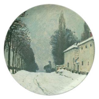 La Route de Louveciennes, Hiver, 1874 (oil on canv Melamine Plate