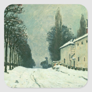La Route de Louveciennes, Hiver, 1874 (oil on canv Square Sticker