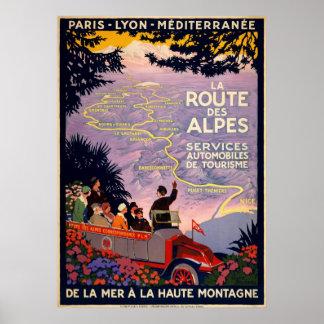 La route des Alpes. Vintage travel poster