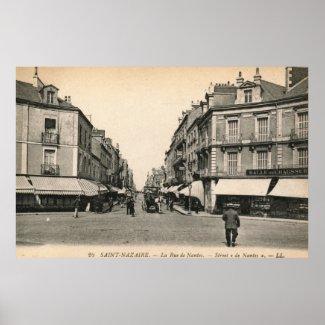 La Rue de Nantes, Saint Nazaire, France Vintage print