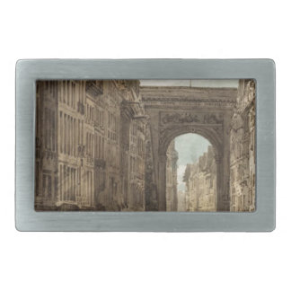 La Rue St Denis by Thomas Girtin Rectangular Belt Buckle
