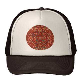La rueda (azteca) maya del calendario gorros bordados