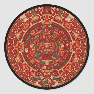 La rueda (azteca) maya/del calendario pegatina redonda