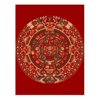 La rueda (azteca) maya del calendario postales