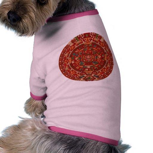 La rueda (azteca) maya/del calendario camiseta con mangas para perro