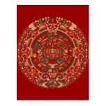 La rueda (azteca) maya del calendario tarjeta postal