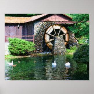 La rueda de agua Ducks la pintura de la foto de Se Póster