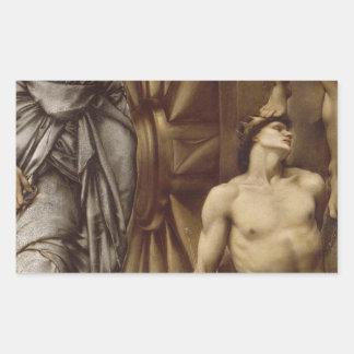 La rueda de la fortuna de Edward Burne-Jones Pegatina Rectangular