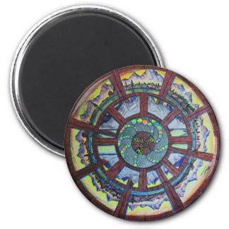 La rueda de la línea del regalo del tiempo imán redondo 5 cm