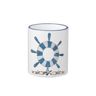 La rueda de la nave azul y blanca taza a dos colores