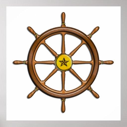 La rueda de la nave de madera posters