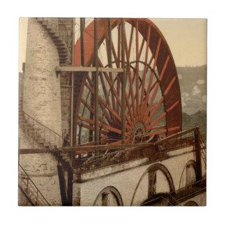 La rueda, Laxey, isla del hombre, Inglaterra Azulejo Cuadrado Pequeño
