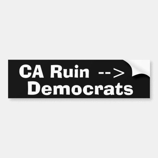 La ruina de California Etiqueta De Parachoque