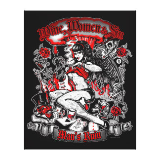 La ruina del hombre: Mujeres y pecado del vino Impresión En Lona