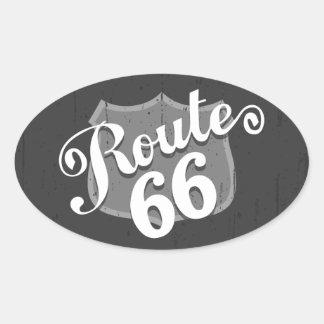 La ruta 66 cubre con tablas sobrepuestas pegatina ovalada