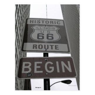 La ruta oficial 66 comienza la muestra tarjeta postal