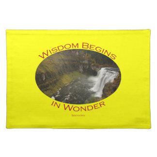 La sabiduría comienza en maravilla mantel individual